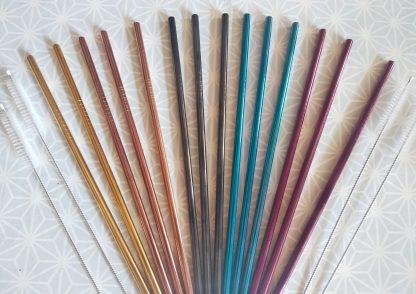 pailles droites inox couleur