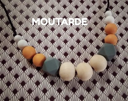 collier allaitement moutarde bois silicone
