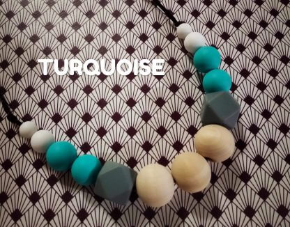 collier allaitement turquoise bois silicone